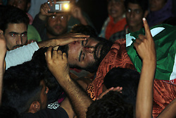 May 27, 2017 - Tral, Jammu And Kashmir, India - (EDITORS NOTE: Image depicts death.) Funeral processions of slain rebel Sabzar Ahmed Bhat alais Soab Don who was killed in an encounter at Saimoh Tral last night. (Credit Image: © Aasif Shafi/Pacific Press via ZUMA Wire)