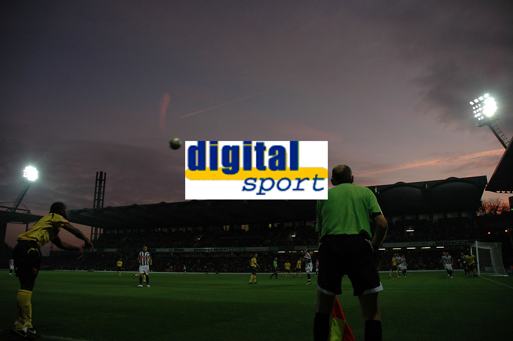 Photo: Tony Oudot/Sportsbeat Images.<br /> Watford v West Bromwich Albion. Coca Cola Championship. 03/11/2007.<br /> sunset over Vicarage Road