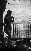 """Henley On Thames. Oxfordshire/ Berkshire. United Kingdom. 26/17.05.2017. General View, River Thames. <br /> <br /> Bronze, two metre-high """"Ama of the Thames"""" standing in the """"Red Lion Hotel"""" Lawn next to Henley Bridge in Oxfordshire. <br /> <br /> [Mandatory Credit Peter SPURRIER/Intersport Images]"""