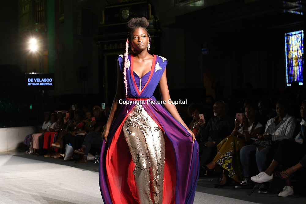 Designer De Velasco showcases its latest collection at the Africa Fashion Week London (AFWL) at Freemasons' Hall on 11 August 2018, London, UK.