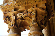 Decorated medieval historicated column capitals in the clositers of Monreale Cathedral - Palermo - Sicily Pictures, photos, images & fotos photography .<br /> <br /> If you prefer you can also buy from our ALAMY PHOTO LIBRARY  Collection visit : https://www.alamy.com/portfolio/paul-williams-funkystock/monrealeduomomosaics.html. Refine search by adding subject etc  into the LOWER SEARCH WITHIN GALLERY box. <br /> <br /> Visit our BYZANTINE MOSAIC PHOTO COLLECTION for more   photos  to download or buy as prints https://funkystock.photoshelter.com/gallery-collection/Roman-Byzantine-Art-Artefacts-Antiquities-Historic-Sites-Pictures-Images-of/C0000lW_87AclrOk