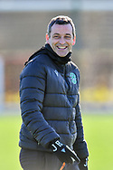 Hibernian FC manager, Jack Ross watches his players train during the training session for Hibernian FC at the Hibs Training Centre, Ormiston, Scotland on 26 February 2021, ahead of the SPFL Premiership match against Motherwell.