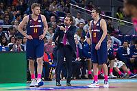 FC Barcelona Lassa coach Sito Alonso talking with Aleksandar Vezenkov and Thomas Heurtel during Liga Endesa match between Estudiantes and FC Barcelona Lassa at Wizink Center in Madrid, Spain. October 22, 2017. (ALTERPHOTOS/Borja B.Hojas)