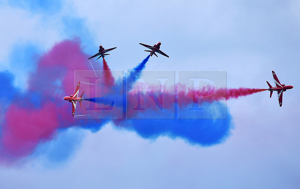 © Licensed to London News Pictures.  03/06/2017; Torbay, Devon, UK. Torbay Airshow 2017. The RED ARROWS perform their first display of the season with a new routine at the 2017 Torbay Airshow.†The 2017 Torbay Airshow returns this weekend on Saturday 3 and Sunday 4 June with an action packed programme of world class air displays. The worldís premier aerobatic team The Red Arrows will be debuting a new routine in the first display of their season, featuring their trademark combination of close formations and precision flying. The full display programme for the weekend begins on the Saturday between 2-3pm with The Tigers Freefall Parachute Display Team, Team Raven Aerobatic Display Team, the Percival Piston Provost and the Strikemaster. From 3-4pm will be the highly anticipated display by the Red Arrows, former British Female Aerobatic Champion Lauren Richardson in her Pitts Special S1-S and world aerobatic competitor Gerald Cooper in his Xtreme XA41. Finishing off the action packed afternoon from 4-5pm will see displays from the AutoGyro, the Battle of Britain Memorial Flight aircraft, the PBY5A Catalina seaplane, The Blades and the Royal Air Forceís Typhoon FGR4. Sunday afternoon will see each of the aircraft take to the skies again before the weekend closes with a final display from the RAF Chinook team. The two day show, which had its inaugural event last year, takes place on Paignton Green with the Bay providing a stunning natural amphitheatre for viewing the air displays and the perfect location for a large coastal airshow event. To stay up to date with the latest Torbay Airshow news and updates follow @torbayairshow on Facebook, Twitter and Instagram or visit www.torbayairshow.com. Picture credit : Simon Chapman/LNP