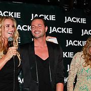 NLD/Amsterdam/20110630 - Uitreiking Jackie's Bachelor List 2011, Lieke van Lexmond met winnaar Fred van Leer en hoofdredactrice Eva Hoeke