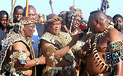 April 20, 2012 - Nkandla, South Africa - South African President JACOB ZUMA (C) attends his wedding ceremony in traditional costume at his home in Nkandla, KwaZulu-Natal on Friday. Zuma married his fourth wife, Bongi Ngema, making it the sixth time the South African leader has wed. (Credit Image: © Liang Quan/Xinhua via ZUMA Wire)
