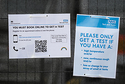 © Licensed to London News Pictures . 16/09/2020. Bolton , UK . An NHS Test and Trace advice sign fixed to railings outside a testing site in Farnwoth . The number of recorded cases of Coronavirus has gone over 200 in a single day , in Bolton . Photo credit : Joel Goodman/LNP