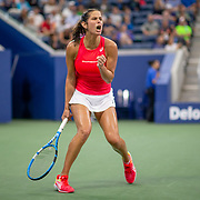 2019 US Open Tennis Tournament- Day Eight.  Julia Goerges of Germany celebrates a break in the first set tie break against Donna Vekic of Croatia in the Women's Singles round four match on Louis Armstrong Stadium during the 2019 US Open Tennis Tournament at the USTA Billie Jean King National Tennis Center on September 2nd, 2019 in Flushing, Queens, New York City.  (Photo by Tim Clayton/Corbis via Getty Images)