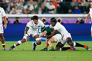 Cheslin Kolbe of South Africa is tackled by Courtney Lawes and Maro Itoje of England during the World Cup Japan 2019, Final rugby union match between England and South Africa on November 2, 2019 at International Stadium Yokohama in Yokohama, Japan - Photo Yuya Nagase / Photo Kishimoto / ProSportsImages / DPPI