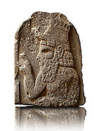 Late Hittite (Aramaean) Basalt funereal Steel with a relief sculpture of a man from 9 - 8th Cent B.C, excavated from Um-Shershuh, Syria.  Istanbul Archaeological Museum Inv. No 7786. .<br /> <br /> If you prefer to buy from our ALAMY STOCK LIBRARY page at https://www.alamy.com/portfolio/paul-williams-funkystock/hittite-art-antiquities.html - Type - Shershuh   - into the LOWER SEARCH WITHIN GALLERY box. Refine search by adding background colour, place, museum etc<br /> <br /> Visit our HITTITE PHOTO COLLECTIONS for more photos to download or buy as wall art prints https://funkystock.photoshelter.com/gallery-collection/The-Hittites-Art-Artefacts-Antiquities-Historic-Sites-Pictures-Images-of/C0000NUBSMhSc3Oo