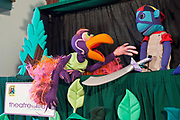 Vanda the Vulture and Mac the Monkey during rehearsals for 'No Monkey Business', an AREPP: Theatre for Life production providing interactive social life skills education to schoolchildren through theatre productions. They are based in Johannesburg, South Africa and are about to go on tour for 3 months doing performances everyday at schools across the country.