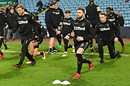Leeds United players warm up during the EFL Sky Bet Championship match between Aston Villa and Leeds United at Villa Park, Birmingham, England on 13 April 2018. Picture by Alan Franklin.