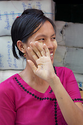 Shy Woman At Thein Gyi Market