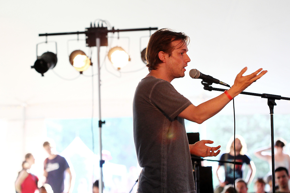 Peter Rollins speaks at the Wild Goose Festival at Shakori Hills in North Carolina June 25, 2011.  (Photo by Courtney Perry)