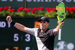 March 09, 2018: Ernesto Escobedo (USA) reacts as he defeated Frances Tiafoe (USA) 7-5, 6-3 at the BNP Paribas Open played at the Indian Wells Tennis Garden in Indian Wells, California. ©Mal Taam/TennisClix/CSM/Sipa USA(Credit Image: © Mal Taam/CSM/Sipa USA)