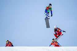 PYEONGCHANG, SOUTH KOREA - FEBRUARY 16:  Michela Moioli #2 of Italy, Julia Pereira de Sousa Marileau #15 of France, Chloe Trespeuch #6 of the United States during the Ladies' Snowboard Cross on day seven of the PyeongChang 2018 Winter Olympic Games at Phoenix Snow Park on February 16, 2018 in Pyeongchang-gun, South Korea. Photo by Ronald Hoogendoorn / Sportida