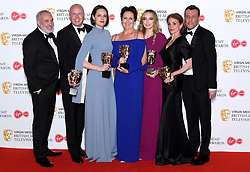 The cast and crew of Killing Eve in the press room during the Virgin Media BAFTA TV awards, held at the Royal Festival Hall in London. Photo credit should read: Doug Peters/EMPICS