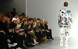 A model on the catwalk during the Alex Mullins London Fashion Week Men's AW18 show held at BFC Show Space, London.