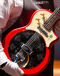 David Gilmour Guitar Collection<br /> Press view<br /> <br /> The personal guitar collection of rock'n'roll legend David Gilmour, guitarist, singer and songwriter of Pink Floyd is unveiled at Christies, London, Great Britain <br /> 27th March 2019<br /> <br /> For the very first time, Christie's will unveil the much-anticipated preview of the personal guitar collection of rock'n'roll legend David Gilmour, guitarist, singer and songwriter of Pink Floyd, to media on Wednesday 27 March at 9.30am. The first stop for the pre-sale touring exhibition, the view will provide a once in a lifetime opportunity to see the 120+ guitar highlights being sold,<br /> with proceeds to benefit charity.<br />  <br /> The exhibition will be on view to the public from 27 to 31 March 2019. Entry will be free, with timed-tickets.<br /> <br /> Photograph by Elliott Franks