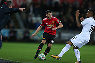 Matteo Darmian of Manchester United (c) in action. EFL Carabao Cup 4th round match, Swansea city v Manchester Utd at the Liberty Stadium in Swansea, South Wales on Tuesday 24th October 2017.<br /> pic by  Andrew Orchard, Andrew Orchard sports photography.