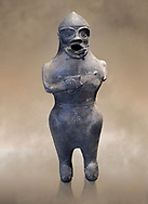 Anthropomorphic Hittite jug in terra cotta from the Hittite Period. Adana Archaeology Museum, Turkey. .<br /> <br /> If you prefer to buy from our ALAMY STOCK LIBRARY page at https://www.alamy.com/portfolio/paul-williams-funkystock/hittite-art-antiquities.html . Type - Adana - in LOWER SEARCH WITHIN GALLERY box. Refine search by adding background colour, place, museum etc.<br /> <br /> Visit our HITTITE PHOTO COLLECTIONS for more photos to download or buy as wall art prints https://funkystock.photoshelter.com/gallery-collection/The-Hittites-Art-Artefacts-Antiquities-Historic-Sites-Pictures-Images-of/C0000NUBSMhSc3Oo