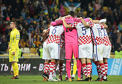 October 9, 2017 - Kiev, Ukraine - Croatia players celebrate the victory after  the World Cup Group I qualifying soccer match between Ukraine and Croatia at the Olympic Stadium in Kiev. Ukraine, Monday, October 9, 2017  (Credit Image: © Danil Shamkin/NurPhoto via ZUMA Press)