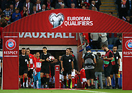 referee Ovidiu Hatagan and his assistants walk out of the tunnel ahead of k/o. Wales v Austria , FIFA World Cup qualifier , European group D match at the Cardiff city Stadium in Cardiff , South Wales on Saturday 2nd September 2017. pic by Andrew Orchard, Andrew Orchard sports photography