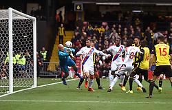 Watford goalkeeper Heurelho Gomes saves a shot on goal