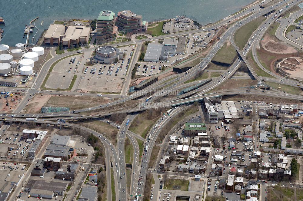 """Pearl Harbor Memorial """"Q"""" Bridge, East Bound Approaches just west of Bridge. I95 I91 Route 34 Interchange Aerial Photograph, view South. Showing surface Streets: Chapel, Hamilton, Water, East & Wooster and Long Wharf Drive on 17 April 2009."""