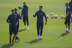 February 19, 2019 - Turin, Piedmont, Italy - Sami Khedira (Juventus FC) and Daniele Rugani (Juventus FC) during the training on the eve of the first leg of eighth of final of UEFA Champions League match between Atletico Madrid and Juventus FC at Juventus Training Center on February 19, 2019 in Turin, Italy. (Credit Image: © Massimiliano Ferraro/NurPhoto via ZUMA Press)