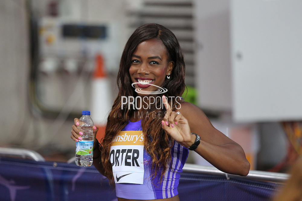 Tiffany Porter after the 100m Hurdles at the Sainsbury's Anniversary Games at the Queen Elizabeth II Olympic Park, London, United Kingdom on 24 July 2015. Photo by Phil Duncan.