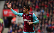 Havard Nodtveit of West Ham looks on.  Premier league match, Stoke City v West Ham Utd at the Bet365 Stadium in Stoke on Trent, Staffs on Saturday 29th April 2017.<br /> pic by Bradley Collyer, Andrew Orchard sports photography.