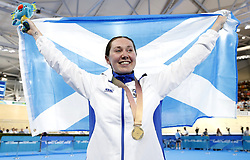 Scotland's Katie Archibald celebrates winning gold in the Women's 3000m Individual Pursuit Finals at the Anna Meares Velodrome during day two of the 2018 Commonwealth Games in the Gold Coast, Australia.
