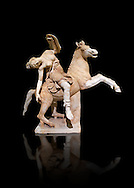 Roman marble sculpture of an Amazon on horseback, a 2nd century AD copy from an original 2nd century BC Hellanistic Greek original, inv 6407 Farnese Collection, Naples Museum of Archaeology, Italy ..<br /> <br /> If you prefer to buy from our ALAMY STOCK LIBRARY page at https://www.alamy.com/portfolio/paul-williams-funkystock/greco-roman-sculptures.html . Type -    Naples    - into LOWER SEARCH WITHIN GALLERY box - Refine search by adding a subject, place, background colour, etc.<br /> <br /> Visit our ROMAN WORLD PHOTO COLLECTIONS for more photos to download or buy as wall art prints https://funkystock.photoshelter.com/gallery-collection/The-Romans-Art-Artefacts-Antiquities-Historic-Sites-Pictures-Images/C0000r2uLJJo9_s0