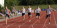 Joe Cebulski of the United States (far left) just edges teammate Will Thomas (far right) to win the 400-meter dash, at the Nike Combined Events Challenge at the R.V. Christian Track Complex on the campus of Kansas State University in Manhattan, Kansas, August 5, 2006.