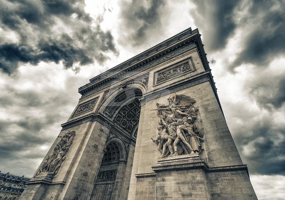 A high dynamic range photo of the Arc de Triomphe in Paris, France on May 18, 2012.