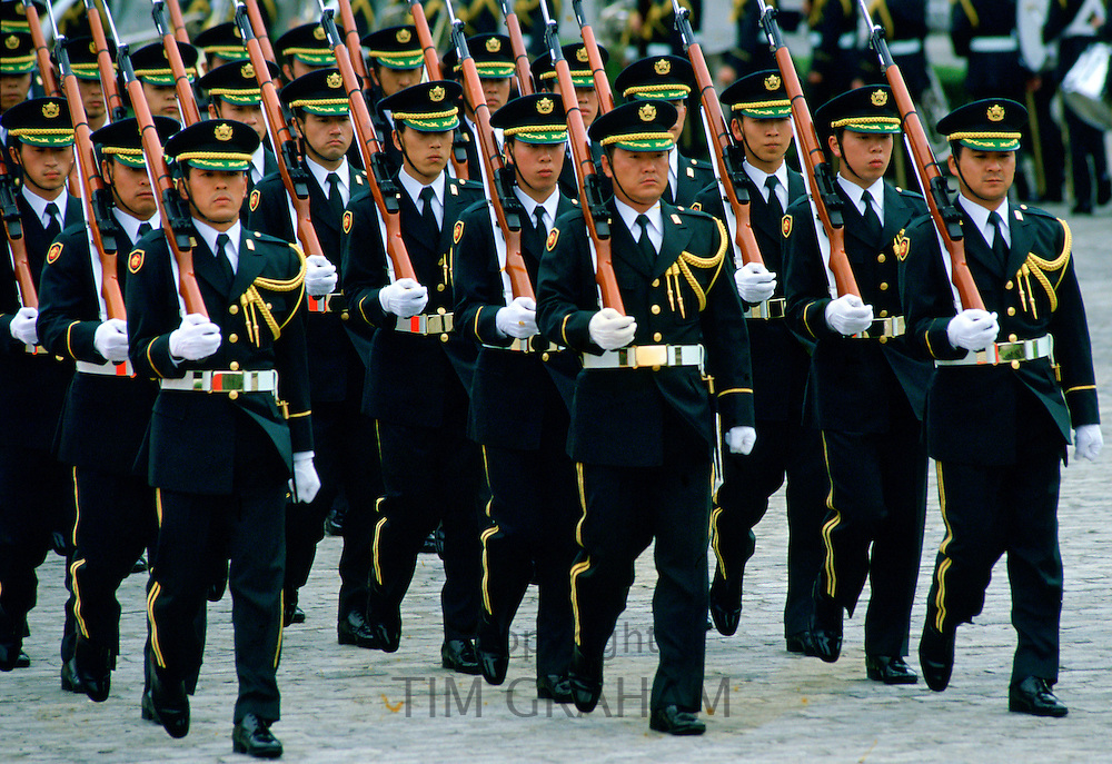Soldiers marching on parade in Tokyo,  Japan
