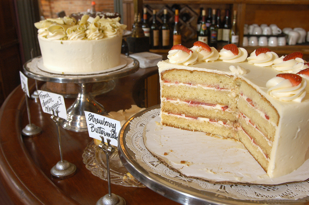 York St. Cafe, Newport, Ky.: The dessert bar, with Strawberry Buttermilk Cake, Opera Cream Cake, Pistachio White Chocolate and French Lemon Meringue Tart and Butter Rum Pecan, all by Pastry Chef Annabell Stolley.
