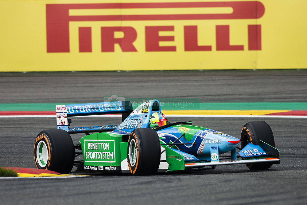 August 27, 2017 - Spa, Belgium - Mick Schumacher driving his father's car on the 25th anniversary of the F1 Bennetton of Michael Schumacher during the Formula One Belgian Grand Prix at Circuit de Spa-Francorchamps on August 27, 2017 in Spa, Belgium. (Credit Image: © Xavier Bonilla/NurPhoto via ZUMA Press)