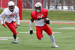 21 April 2018:   James Robinson pursued by J. Harris  Illinois State Redbirds Spring Scrimmage Football game at Hancock Stadium in Normal IL (Photo by Alan Look)