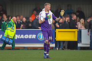 AFC Wimbledon goalkeeper Aaron Ramsdale (35) gesturing to the fans during the EFL Sky Bet League 1 match between AFC Wimbledon and Gillingham at the Cherry Red Records Stadium, Kingston, England on 23 March 2019.