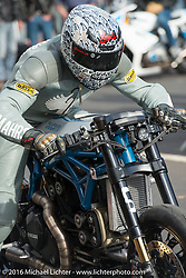 Essenza 1/8 mile sprints pitted DIY mechanics, hobby racers and small race teams using many brands of bikes at the Intermot Motorcycle Trade Fair. Cologne, Germany. Saturday October 8, 2016. Photography ©2016 Michael Lichter.