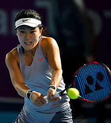 DOHA, Feb. 12, 2019  Zhu Lin of China hits a return during the final qualifications round against Alison Riske of the United States at the 2019 WTA Qatar Open in Doha, Qatar, on Feb. 11, 2019. Zhu Lin won 2-0. (Credit Image: © Yangyuanyong/Xinhua via ZUMA Wire)