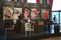 Embargoed to 0001 Friday July 21<br /> The desk from the Kensington Palace sitting room of Diana, Princess of Wales on show during a preview for the Royal Gifts exhibition, which is part of the annual Summer Opening of the State Rooms at Buckingham Palace, London.