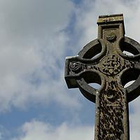 Europe, Ireland, Glendalough. Celtic Cross at Glendalough.