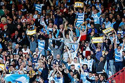 Argentina supporters celebrate - Mandatory byline: Rogan Thomson/JMP - 07966 386802 - 25/09/2015 - RUGBY UNION - Kingsholm Stadium - Gloucester, England - Argentina v Georgia - Rugby World Cup 2015 Pool C.