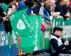 Pau fans flags A general view of Cardiff Arms Park, home of Cardiff Blues<br /> <br /> Photographer Simon King/Replay Images<br /> <br /> European Rugby Challenge Cup - Semi Final - Cardiff Blues v Pau - Saturday 21st April 2018 - Cardiff Arms Park - Cardiff<br /> <br /> World Copyright © Replay Images . All rights reserved. info@replayimages.co.uk - http://replayimages.co.uk