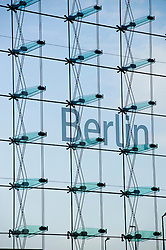Detail of large window facade of Berlin Hauptbahnhof or Central Station Germany