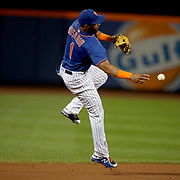 NEW YORK, NEW YORK - SEPTEMBER 26: Amed Rosario #1 of the New York Mets makes an out from shortstop during the Atlanta Braves Vs New York Mets MLB regular season game at Citi Field, Flushing, Queens, on September 26, 2017 in New York City. (Photo by Tim Clayton/Corbis via Getty Images)