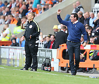 Blackpool manager Gary Bowyer shows his displeasure over an incident on the pitch<br /> <br /> Photographer Stephen White/CameraSport<br /> <br /> Football - The EFL Sky Bet League Two - Morecambe v Blackpool - Saturday 13th August 2016 - Globe arena - Morecambe<br /> <br /> World Copyright © 2016 CameraSport. All rights reserved. 43 Linden Ave. Countesthorpe. Leicester. England. LE8 5PG - Tel: +44 (0) 116 277 4147 - admin@camerasport.com - www.camerasport.com